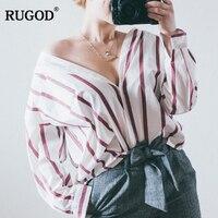 RUGOD 2018 Neue Ankunft Mode Übergroßen Gestreifte Langarm Frauen Shirts Frühling Herbst Lose Allgleiches Beiläufige Weibliche Bluse