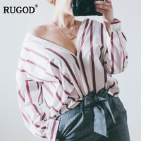 RUGOD Fashion Loose Oversize Striped Long Sleeve Women Shirts 2017 New Arrival Autumn All Purpose Casual