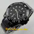 40mm parnis black dial PVD GMT sub sapphire glass automatic mens watch