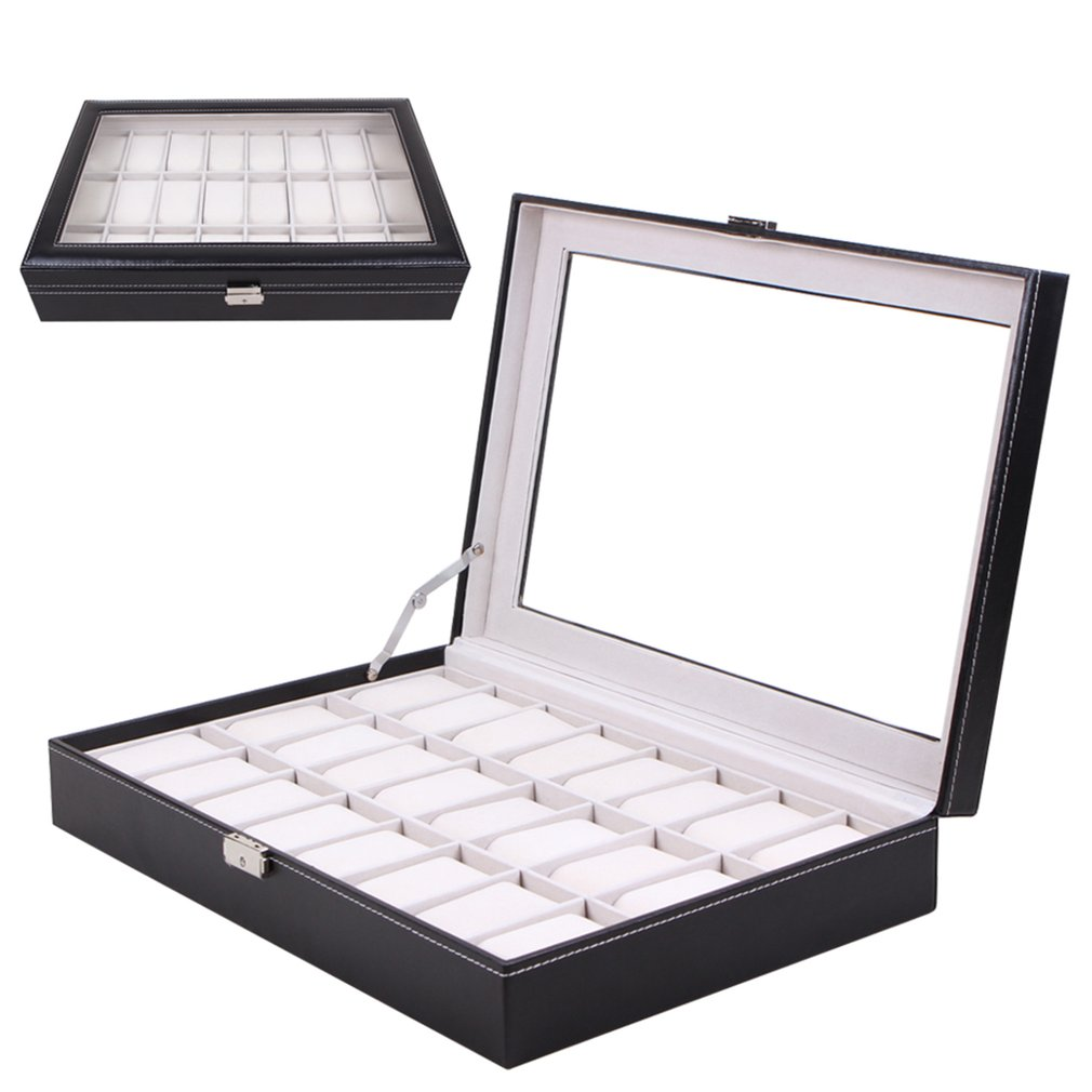 24 Grids PU Leather Watch Box Jewelry Display Box Storage Case Carry with Foam Pad Pillow Transparent Glass Watch Container24 Grids PU Leather Watch Box Jewelry Display Box Storage Case Carry with Foam Pad Pillow Transparent Glass Watch Container