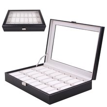 24 Grids PU Leather Watch Box Jewelry Display Storage Case Carry with Foam Pad Pillow Transparent Glass Container