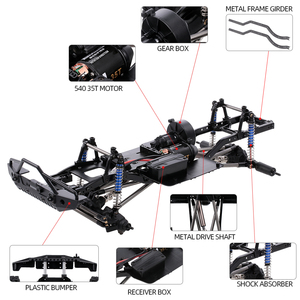 Image 4 - AUSTAR 313mm Wheelbase Chassis Frame With 540 35T Brushed Motor for 1/10 AXIAL SCX10 II 90046 90047 RC Crawler Climbing Car DIY