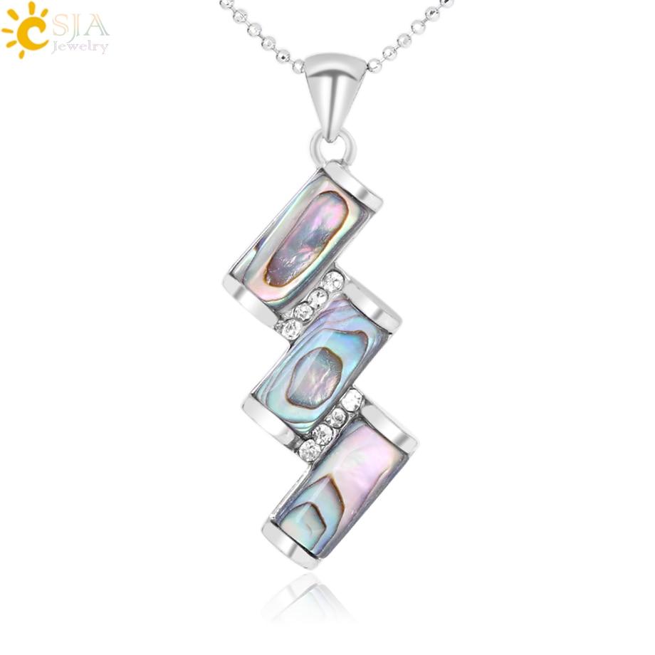 CSJA Natural Paua Abalone Shell Pendulum Necklaces Pendants Raw Mother of Pearl Seashell Rhinestone CZ Beads Jewellery Gift F292