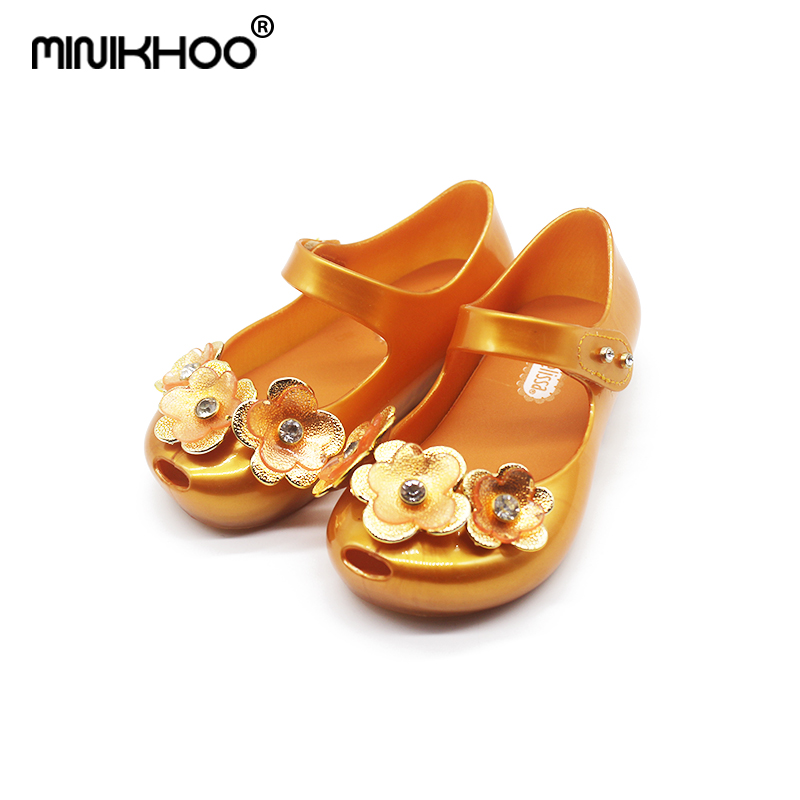 Mini Melissa Original Brands 3D Flowers Girls Jelly Sandals 2018 Summer Girls Jelly Sandals Children Shoes Melissa High Quality