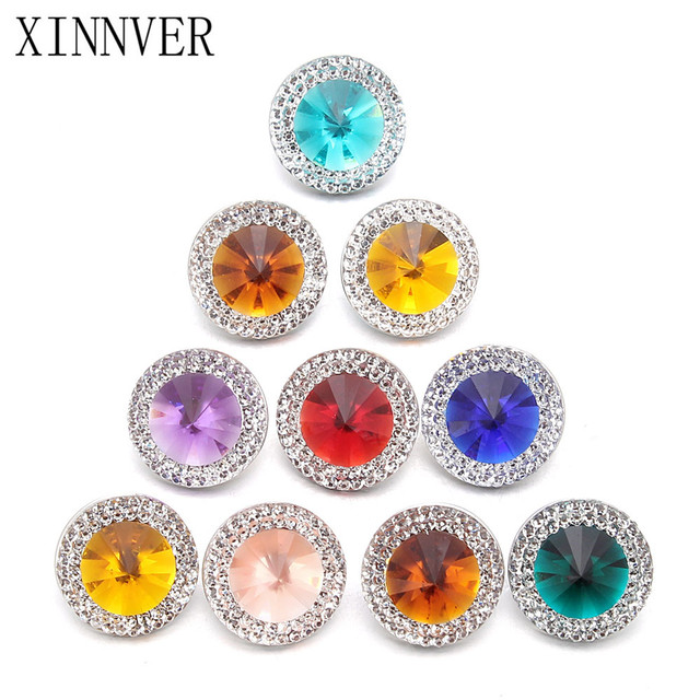 10pcs/lot Mixed Style Snap Jewelry Colorful Crystal Round 18mm Resin Snap Button