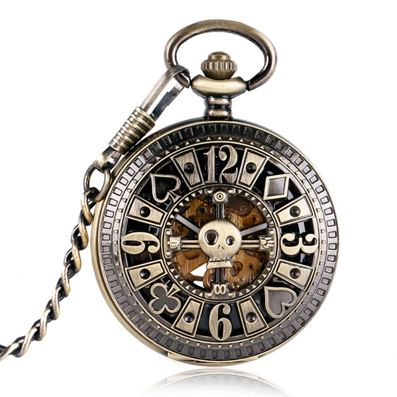 Simple Vintage Mechanical Poket Watches Women Pendant Skull Bronze Masculine Necklace Pocket Watch Automatic Gifts for Men free shipping hot sale bronze black skull bone pocket watch women female pendant accessory gift for men p1416
