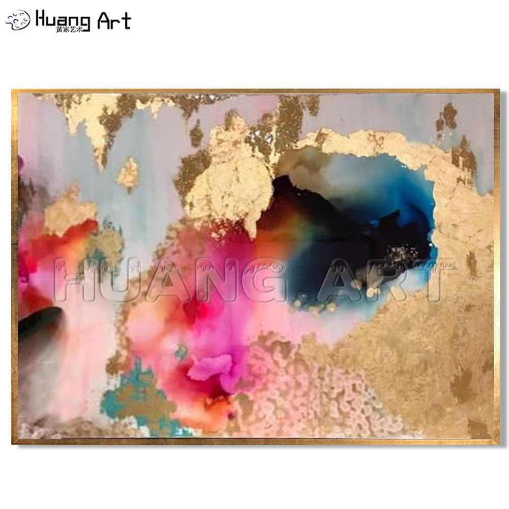 Позолоченная холщовая живопись, высокая квалификация, команда художника, Прямая поставка, высокое качество, абстрактный, золотой, фиолетовый, красочный декор, картина маслом