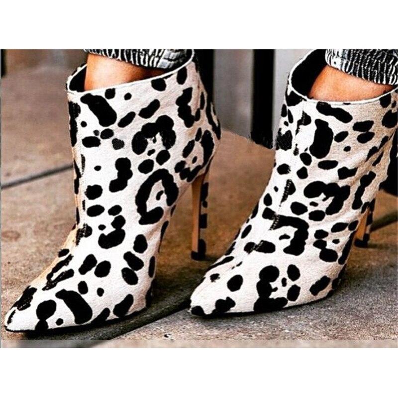 1095a6ff9 Camurça Rasa Estampas Alto De Stilettos Salto Ankle Boots Volta Zipper Das  Apontou Botas Dedo Do ...
