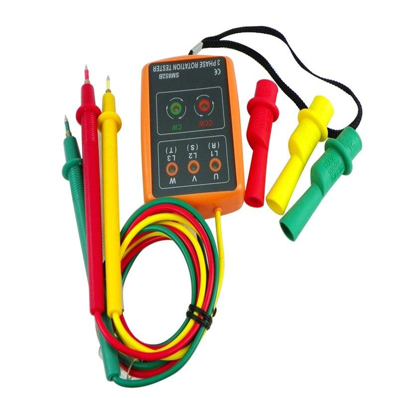3 Phase Rotation Testeur Numérique Phase Indicateur Détecteur LED + Buzzer SM852B Compteur de Séquence de Phase 60 V ~ 600 V AC Trois Phase