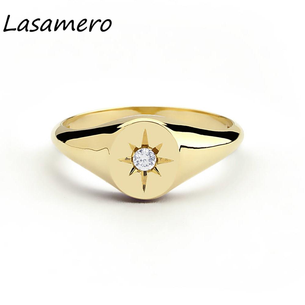 LASAMERO Round Cut 0.07CT 4 Prongs Star Setting Natural Diamond 14k Gold Rock Punk Ethnic Ring Signet Ring Luck Ring 1pc