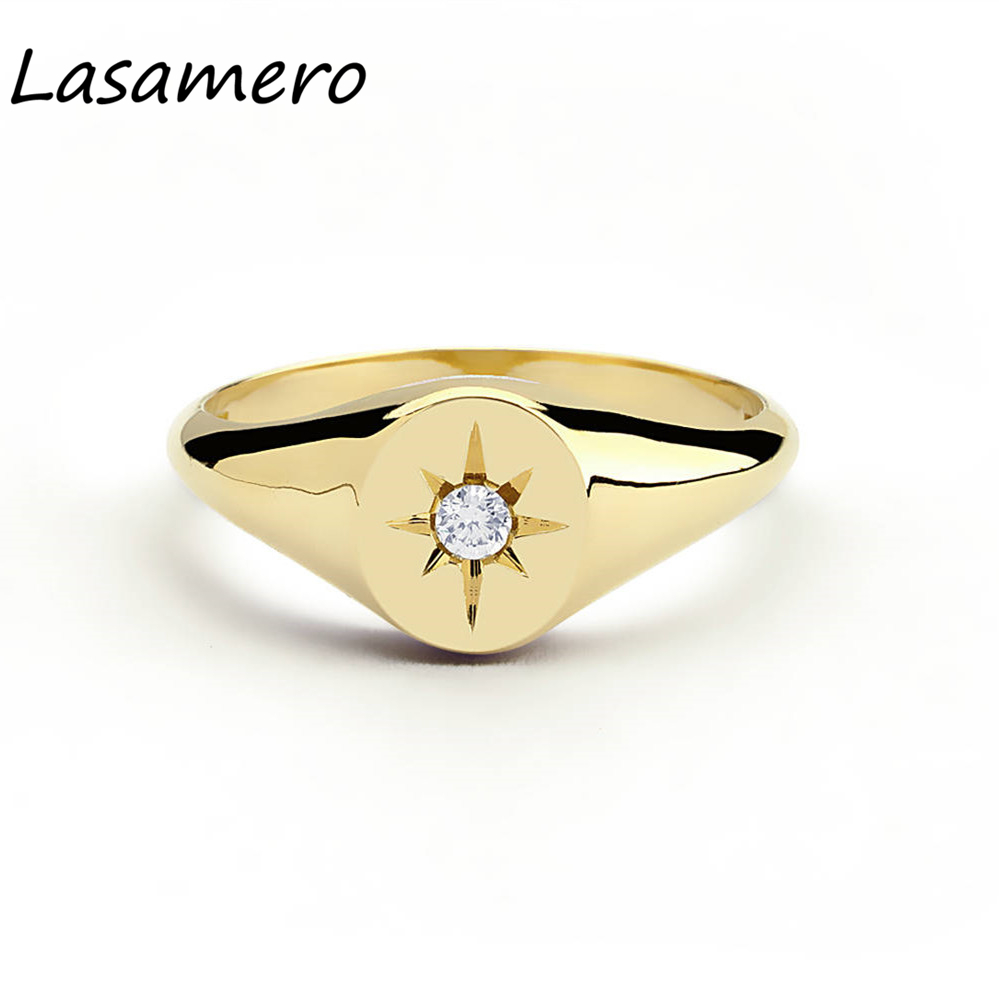 LASAMERO taille ronde 0.07CT 4 broches étoile réglage diamant naturel 14 k or Rock Punk ethnique bague chevalière bague chance 1 pc