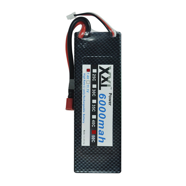 XXL 7.4V 6000mAh 50C 2S Li-po Battery with T Plug Hard Case for 1/10 RC Car Traxxas Tamiya quadcopter & Toys & Helicopter