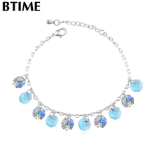Btime Top Quality Charm 26cm Anklets Bracelet Women Mujer DIY Fine Foot Jewelry Barefoot Sandals Crystals From Swarovski