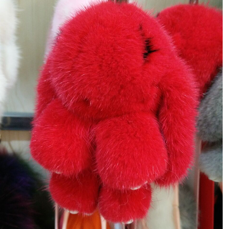 Mink fur rabbit bag hang bag pendant fur accessories car key chain doll недорого