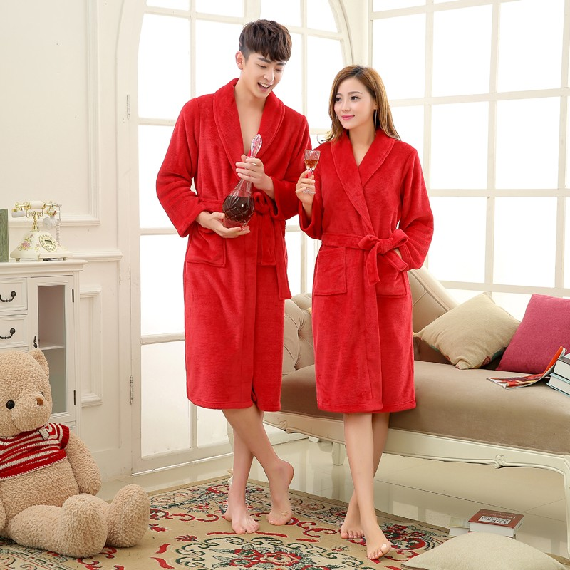 Unisex Mens Women\'s Long Polyester Sleep Lounge Robes RBS-C LYQ114 12