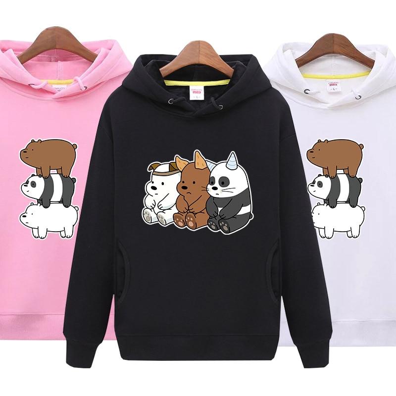 We Bare Bears Hoodies Cartoon Clothing Plus Size The Three Bare Bears Clothes  womens sweatshirt  2018 autumn women fashion bts v warriors jacket
