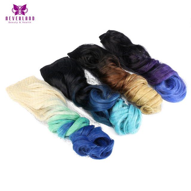 "Neverland 20"" 50cm 12 Color Curly Rainbow Blue Ombre Synthetic Hairpieces High Temperature Fiber Clip In Hair Extensions"