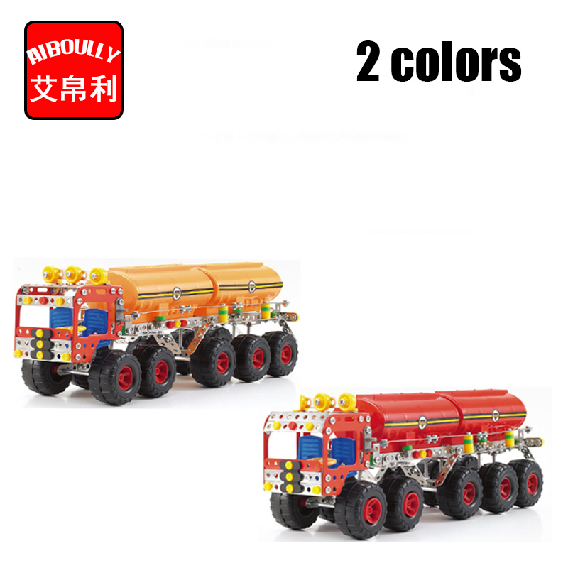 438pcs Tank truck Metal Construct Fantastic Model 3D Assembled Recovery Vehicle of Lift Truck Car DIY Toys With Tool