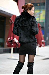 Image 5 - 2019 New Genuine Rabbit Fur Coat women full pelt rabbit fur jacket Winter Fur waistcoat customized big size Stand Collar TFP267