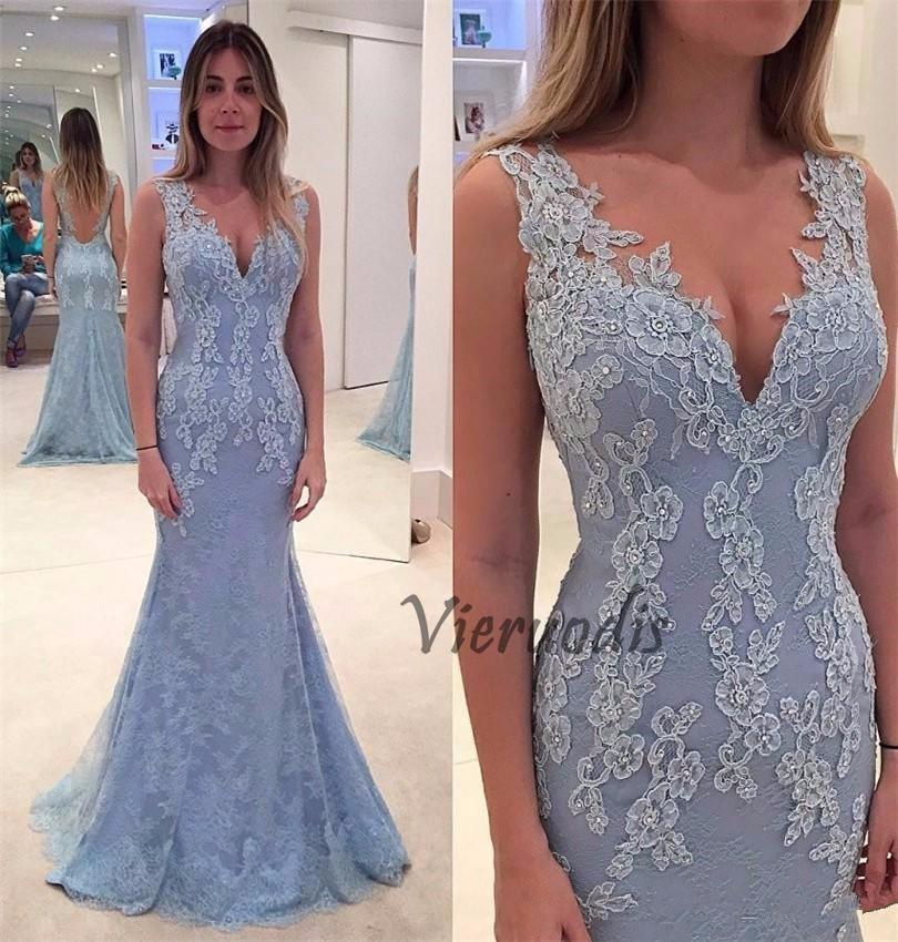 Vieruodis/ Mermaid Long Prom Dresses 2019 V-Neck Sleeveless Backless Lace Appliques Formal Party Evening Gowns Vestido De Festa