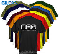 Retro 100 Cotton Prin T Shirt Tee Shirts Gildan Design O Neck Short Sleeve Eat Sleep