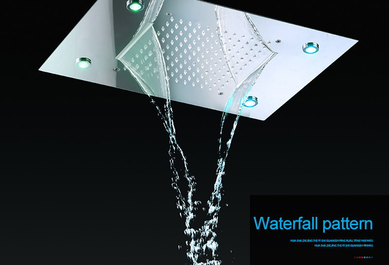 hm Shower System Double Waterfall Rainfall Large Ceiling LED Rain Shower Head Recessed Automatic Color Change Thermostatic Tap (8)