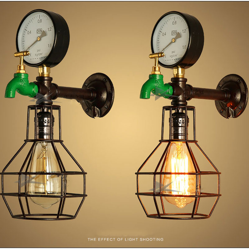 Iwhd Water Pipe Retro Vintage Ceiling Light Fixtures: Retro Pipe Wall Light,decorative Water Meter Lighting