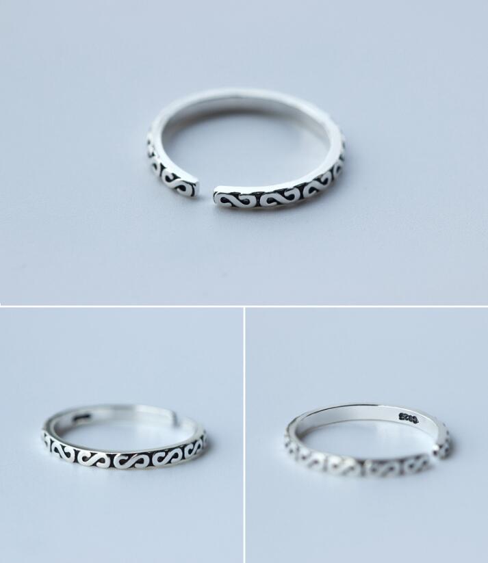 Shuangshuo արծաթե զարդարված օղակներ - Նորաձև զարդեր - Լուսանկար 2