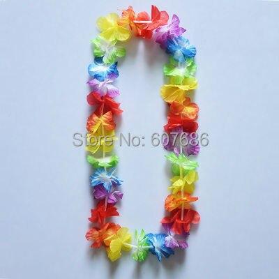 Velkoobchod 60 kusů barevné Havajské květiny Lei Luau Leis Květinový náhrdelník Havajská večírek Produkty Šaty Dekor EMS Doprava zdarma