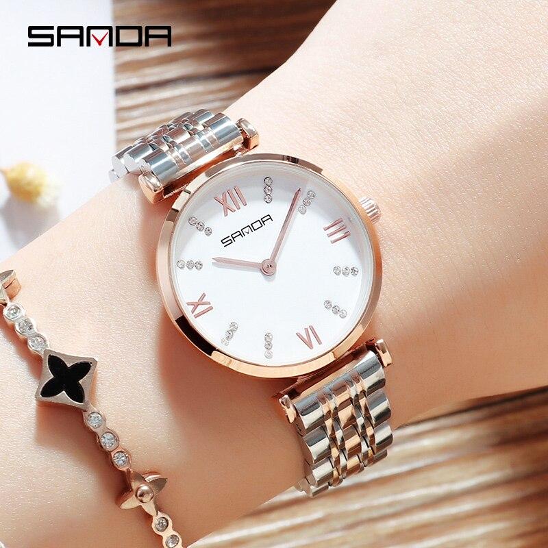 0f8298d533d Ouro rosa Relógios Em Aço Inoxidável Relógio de Senhoras do Relógio de  Pulso Das Mulheres Top