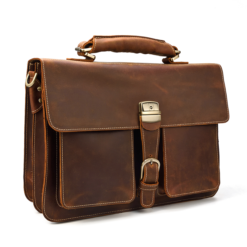 MAHEU Brand Designer Business Man Brief Case Crazy Horse PC Laptop Bags Soft Leather Official Messenger Bag For Men With Handle