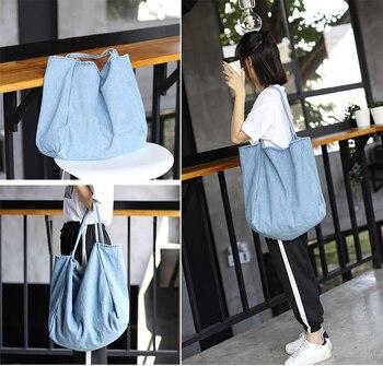 Denim Big Capcity Tote Bag Women Fashion Classical Handbag Female Fabric Casual Leisure Beach Summer Oversize Top-handle Purse 4