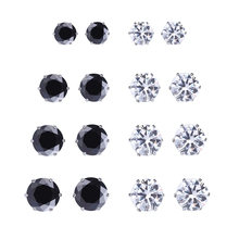 925 8Pairs/set New Black /Silver Zircon Earrings Set for Women Simulated Pearl Piercing Geometric Stud Earings Fashion Jewelry viennois luxury silver color zircon stud earrings women fashion jewelry simulated pearl geometric earrings for party wedding