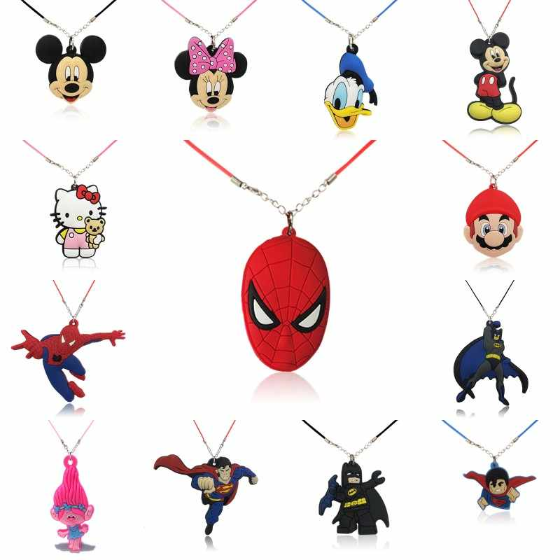 1pcs Mickey Avenger Super Mario Cartoon Figure Necklace PVC Charm Choker Rope Chain Fashion Accessories Kids Party Gift
