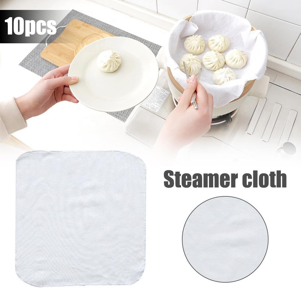 10PCS Cotton Steamed Buns Bread Steamer Mat, 100% <font><b>Unbleached</b></font> Cotton Fabric, Reusable, Ultra Fine <font><b>Cheesecloth</b></font> Steamer Cloth image
