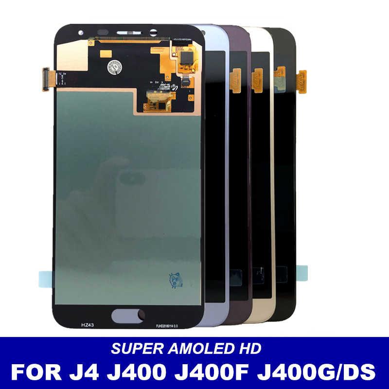سوبر AMOLED J400 شاشات LCD لسامسونج غالاكسي J4 J400 J400F SM-J400F J400G/DS LCD استبدال عرض مجموعة المحولات الرقمية لشاشة تعمل بلمس