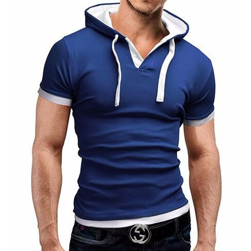 Men'S T Shirt 2017 Summer Fashion Hooded Sling Short-Sleeved Tees Male Camisa Masculina T-Shirt Slim Male Tops 4XL