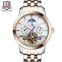 BINKADA Automatic Mechanical Watches Men Skeleton Design Genuine Leather Watch Mechanical SelfWind Quartz Movement reloj hombre