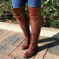 2018 New Women's Over Knee High Boot Lace Up Slim Thigh High Heel Shoes Women Long Thigh Boots big size 34 43