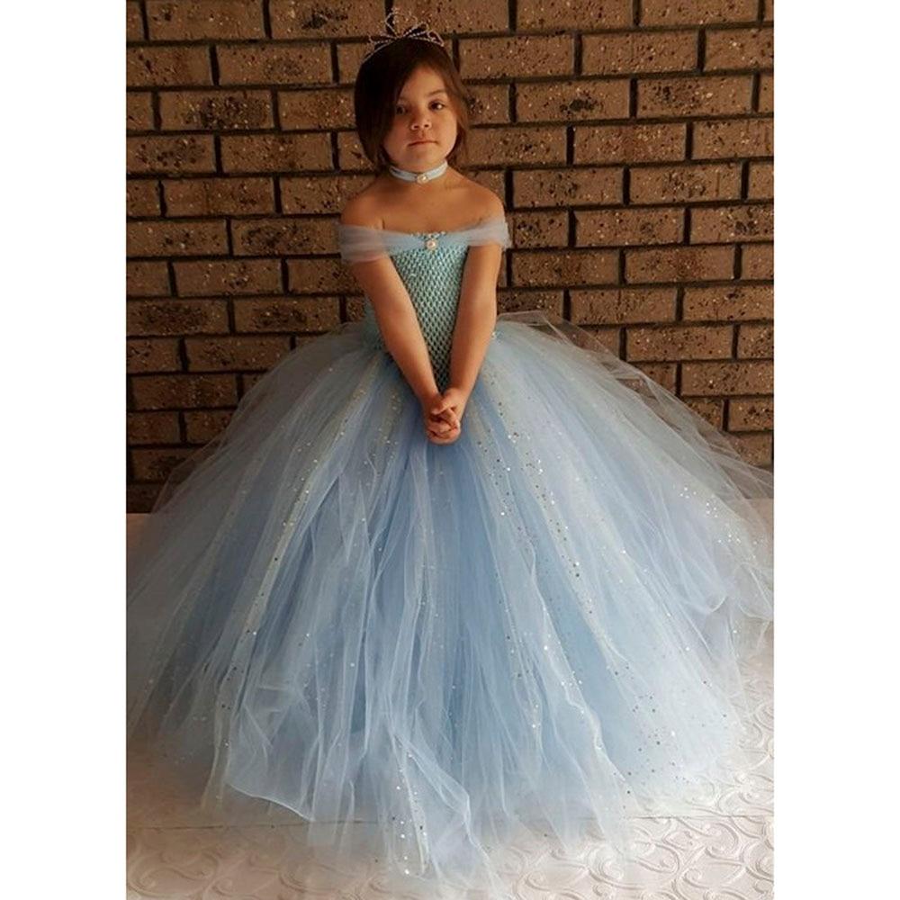 new design light blue v shaped gown tutu dress blue