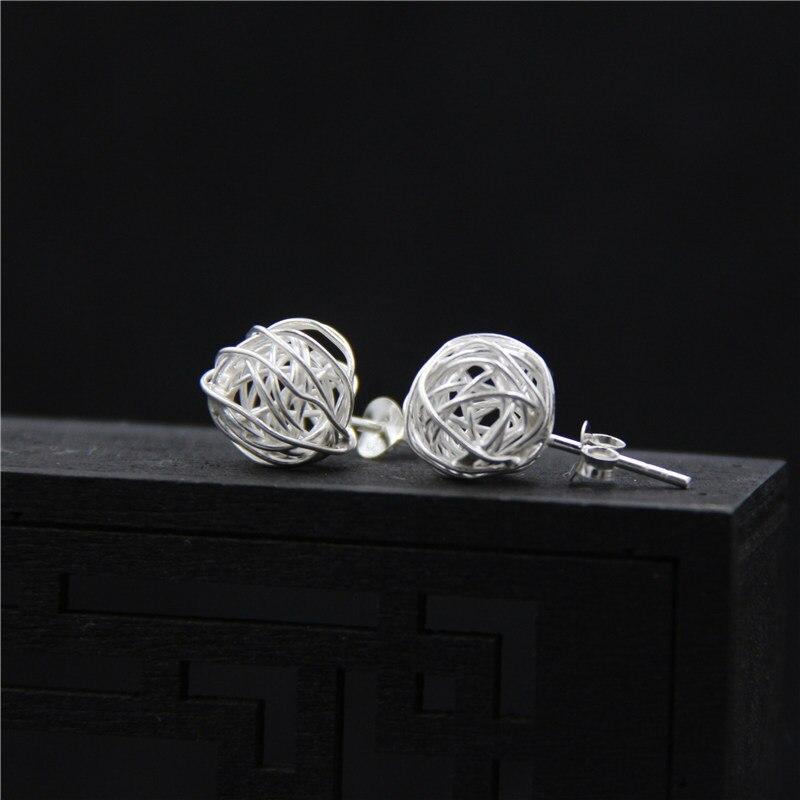 US $8 79 12% OFF|C&R Real S925 Stud Earrings for Women Hollow Nest Thai  Silver Earrings Handmade Trendy Fine Jewelry-in Earrings from Jewelry &