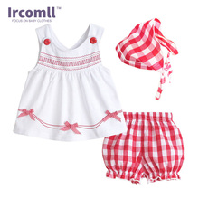 NEW Summer 2017 Baby Girls Outfit Top Short Headband 3pec Clothes Sets Fashion Lattices tutu Infant