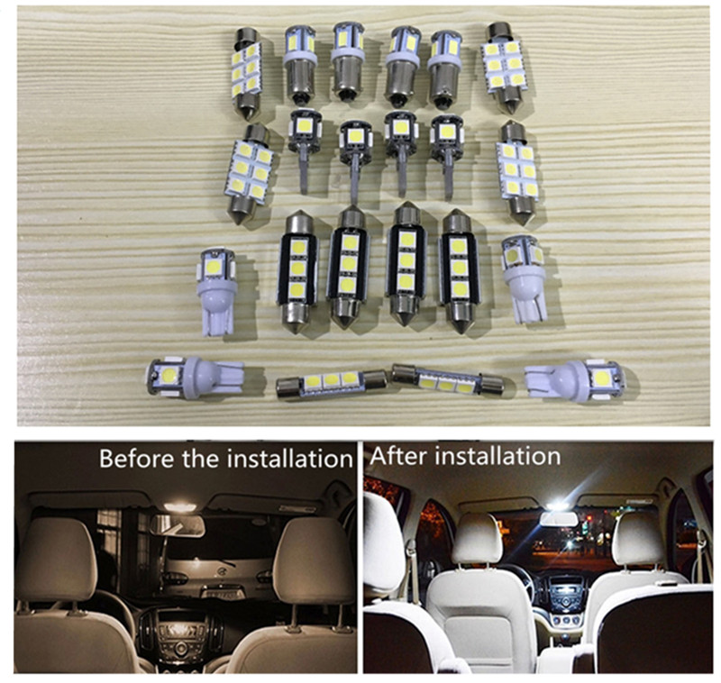 19pcs Car LED Light For Audi A6 C6 Avant,Canbus Auto Interior Lighting Bulb For Audi A6 4F 05-11 Dome Reading Lights #