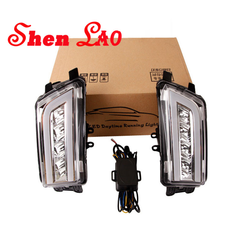 ShenLao Super bright Waterproof car light DRL LED Daytime Running Lights with fog lamps For Volkswagen Passat B7 2013-2016 new dimming style relay waterproof 12v led car light drl daytime running lights with fog lamp hole for mitsubishi asx 2013 2014