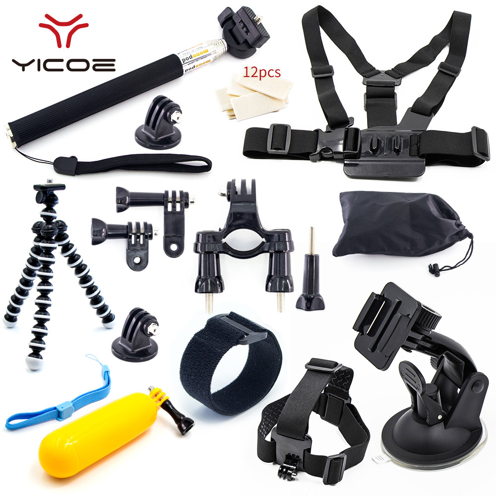 Galleria fotografica Tripod Chest Strap Mount Monopod Stick for Gopro Go Pro Session 5 4 3 SJCAM SJ4000 xiaomi yi 4k Action Camera Accessories Kit