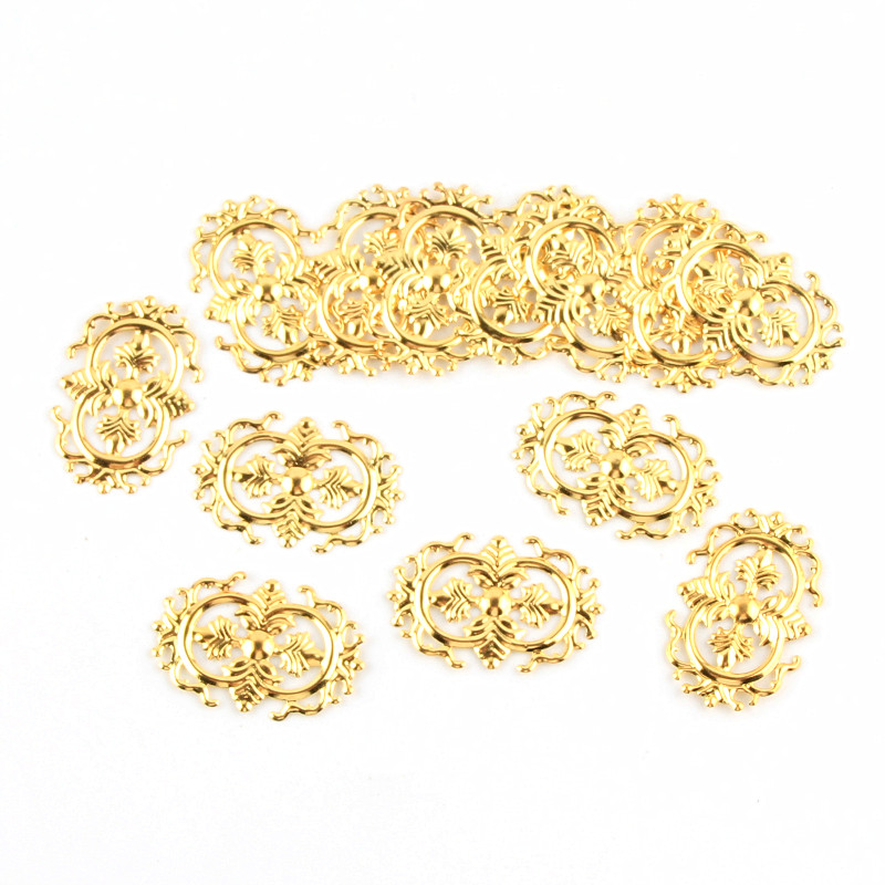 40pcs Filigree Wraps Gold Metal Connectors Crafts 35x23mm For Jewelry Making DIY Accessories Charm Pendant Filigree