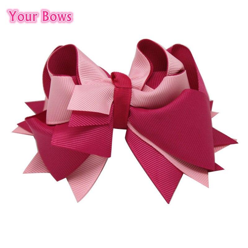 Твои банты 1 шт. 5 дюймов для девочек Однотонные бантики для волос Заколки для волос с бантом из ленты на каблуке высотой заколки для волос для детей Головные уборы Fastion женские аксессуары для волос