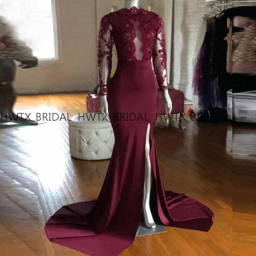 Vintage Burgundy Long   Prom     Dresses   2019 High Neck Long Sleeve Lace Top High Slit Mermaid Evening   Dress   African Formal Party Gown