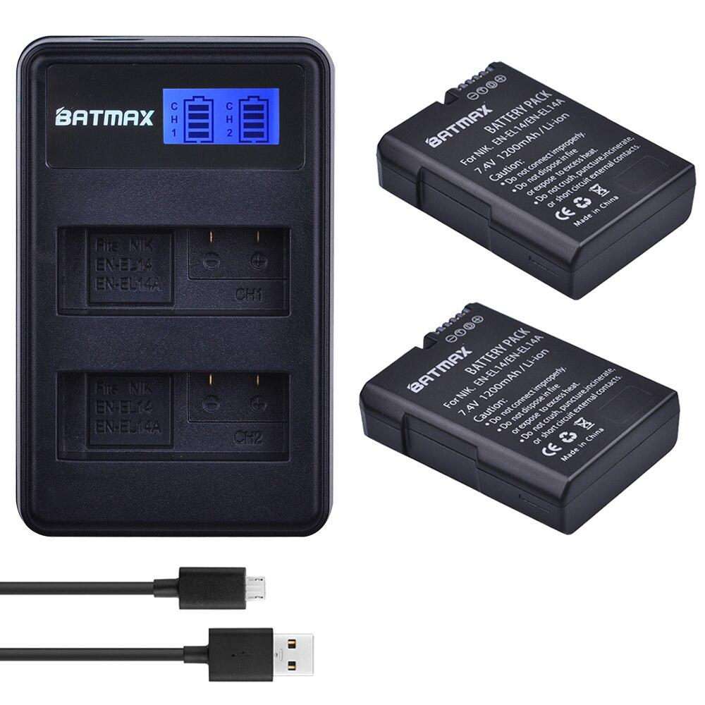2 piezas EN-EL14 EN-EL14a ENEL14 es EL14 EL14a batería + LCD USB cargador Dual para Nikon D3100 D3200 D3300 D5100 d5200 D5300 P7000