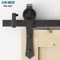 KIN MADE New Arrival Powder Coated Sliding Barn Door Hardware Sliding Rail For Wooden Door